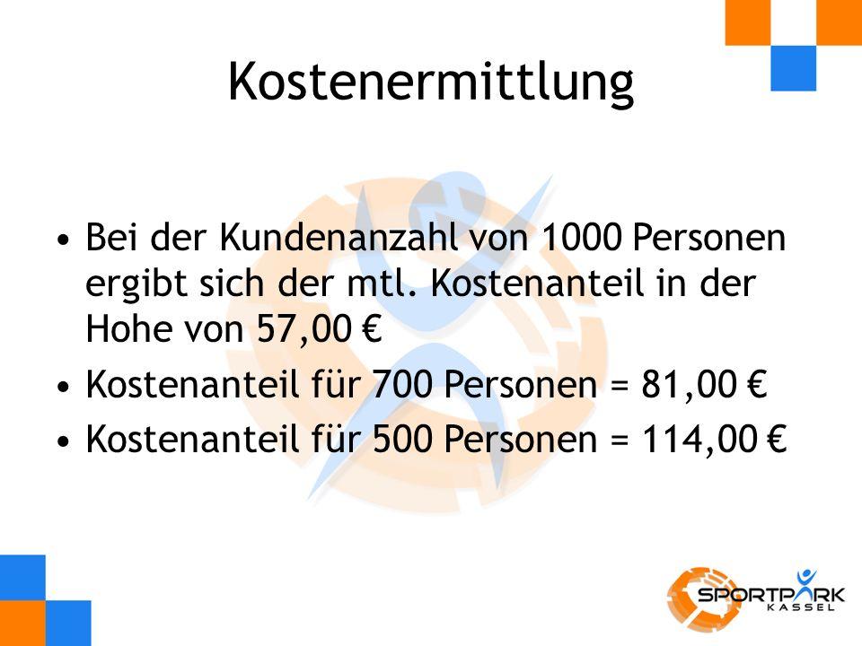 Kostenermittlung Bei der Kundenanzahl von 1000 Personen ergibt sich der mtl. Kostenanteil in der Hohe von 57,00 €