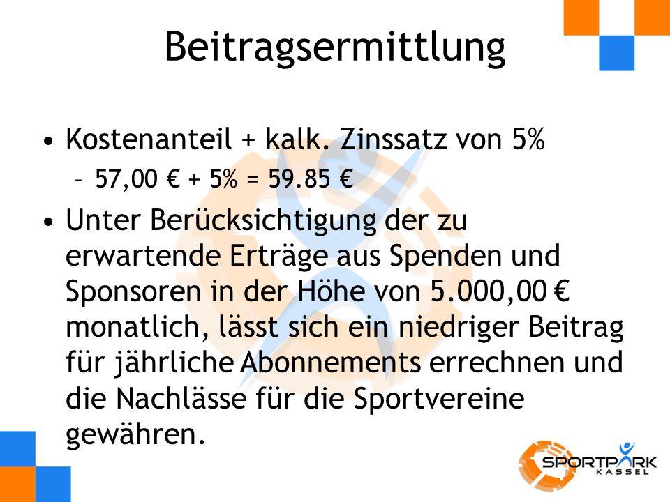 Beitragsermittlung Kostenanteil + kalk. Zinssatz von 5%