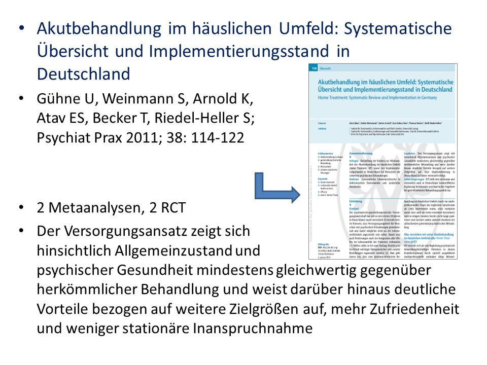 Akutbehandlung im häuslichen Umfeld: Systematische Übersicht und Implementierungsstand in Deutschland
