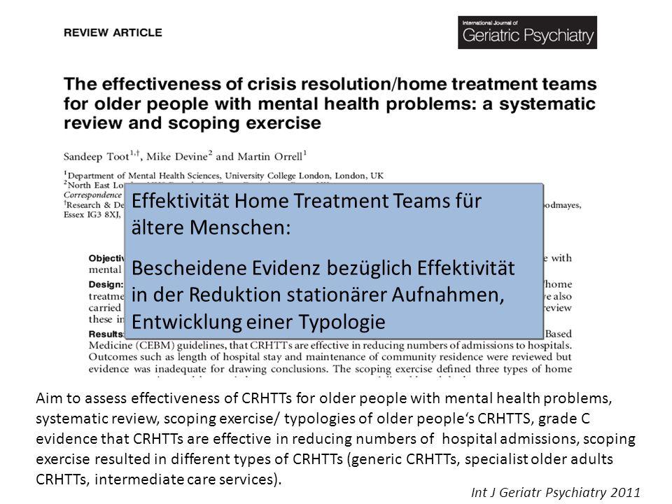 Effektivität Home Treatment Teams für ältere Menschen:
