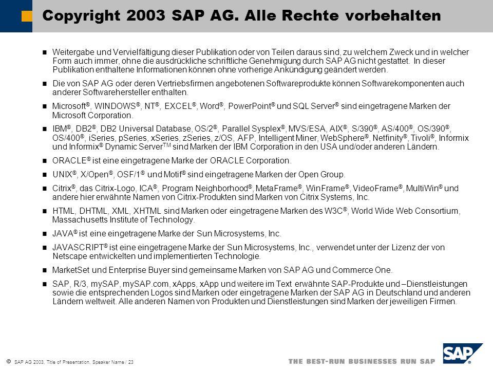 Copyright 2003 SAP AG. Alle Rechte vorbehalten