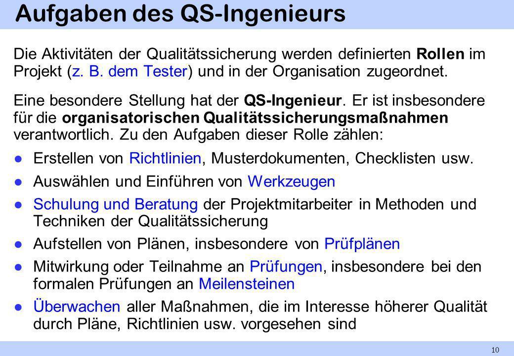Aufgaben des QS-Ingenieurs