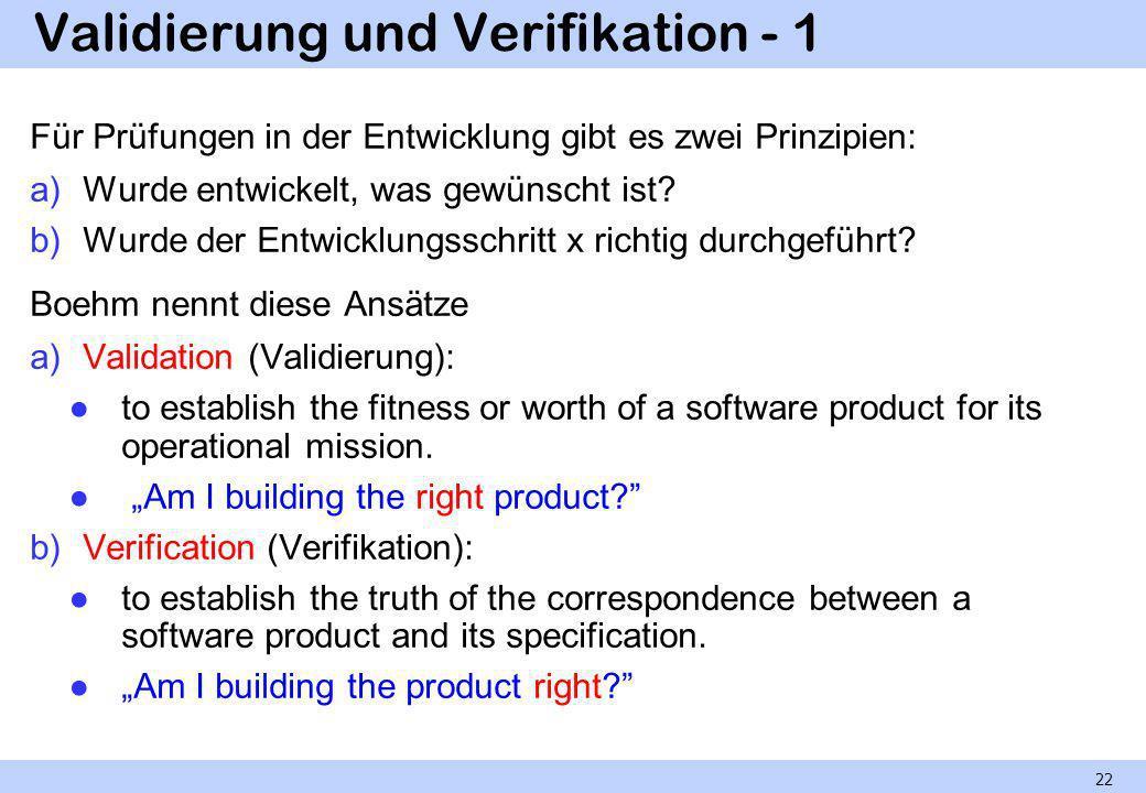 Validierung und Verifikation - 1