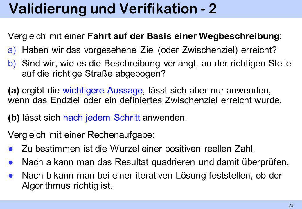 Validierung und Verifikation - 2