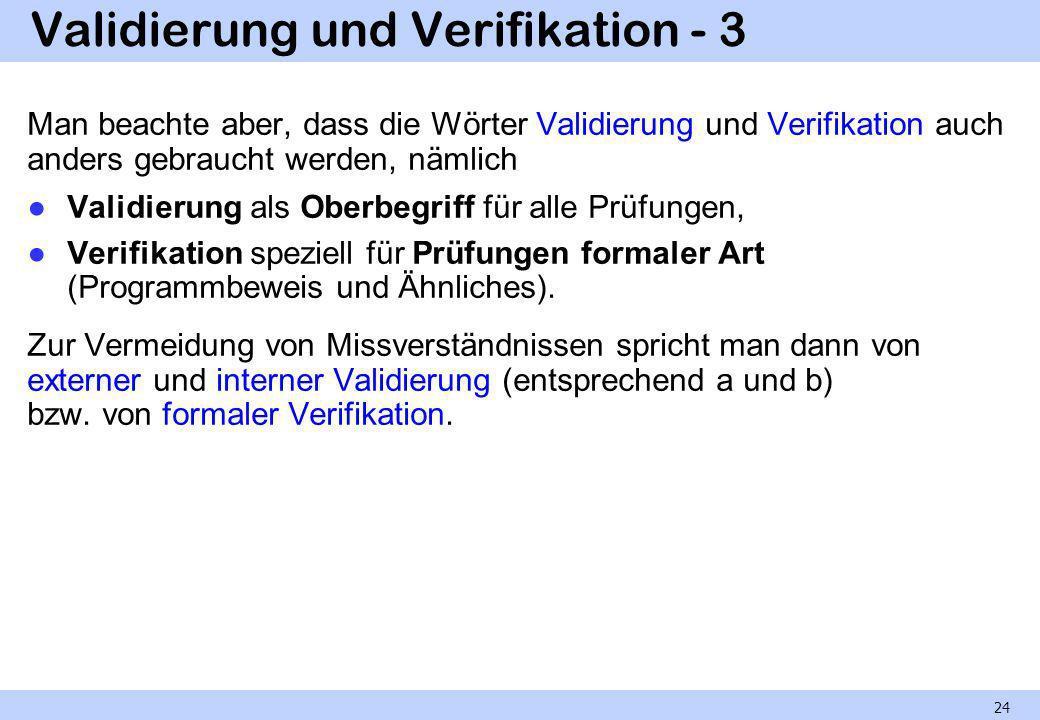 Validierung und Verifikation - 3