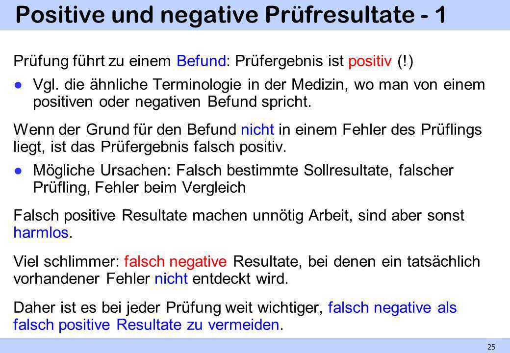 Positive und negative Prüfresultate - 1