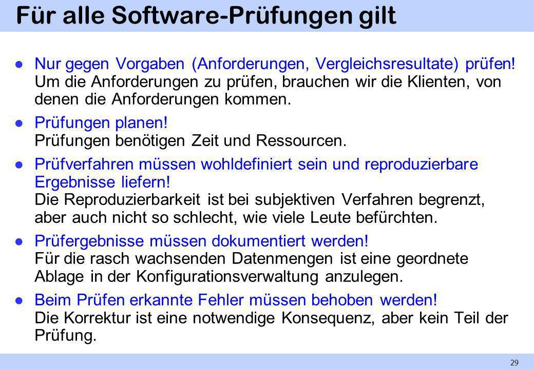 Für alle Software-Prüfungen gilt
