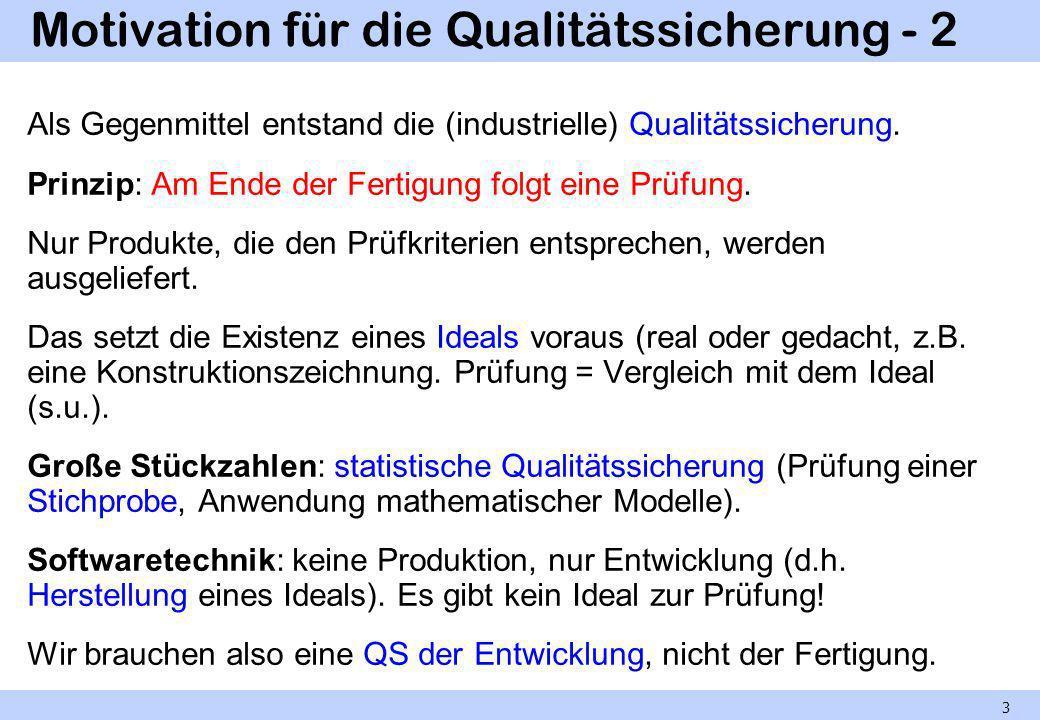 Motivation für die Qualitätssicherung - 2