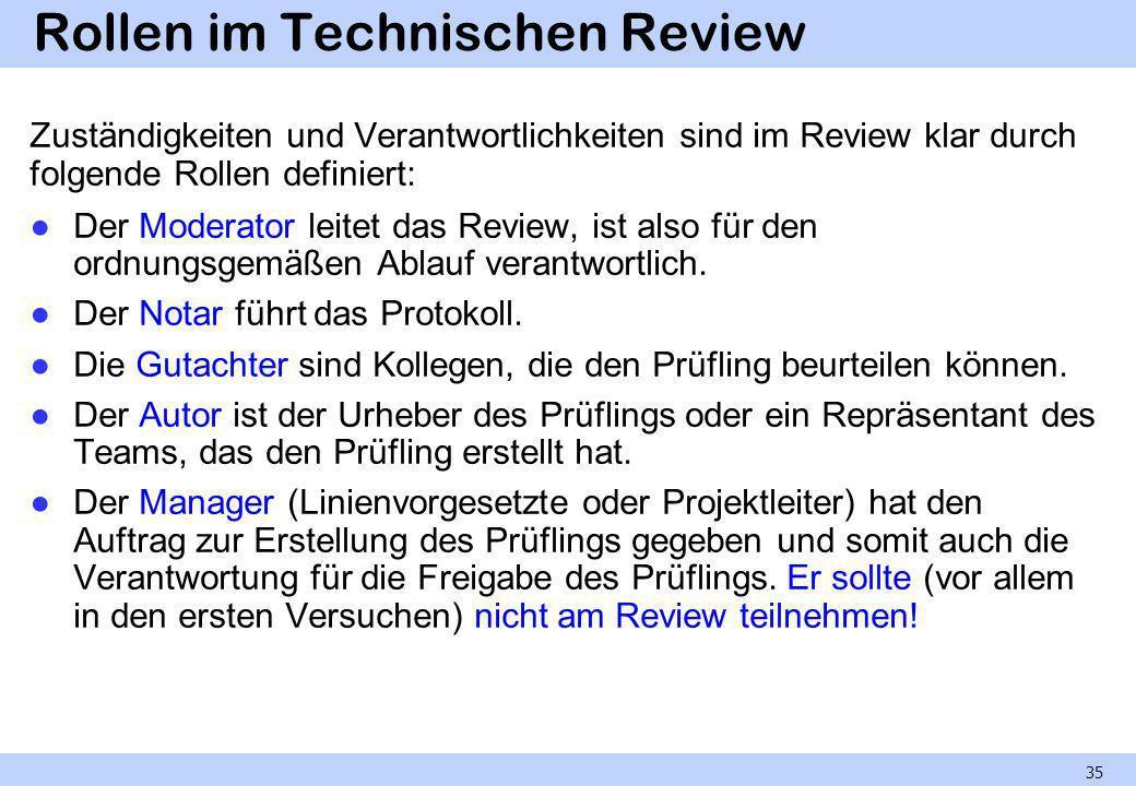 Rollen im Technischen Review