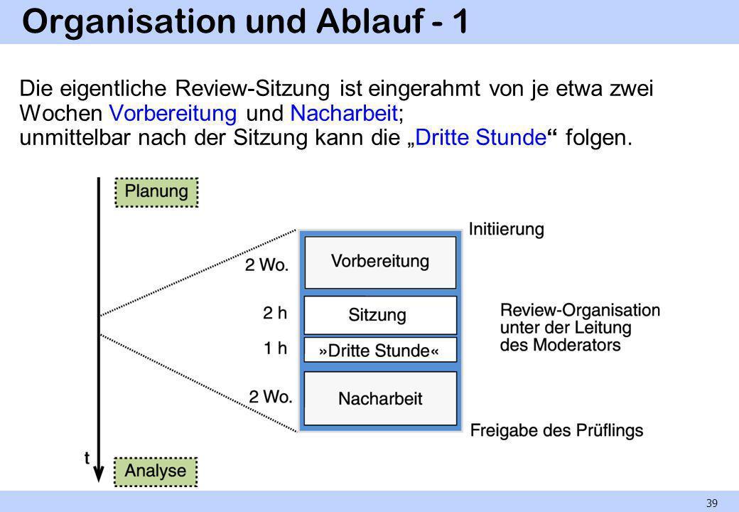 Organisation und Ablauf - 1