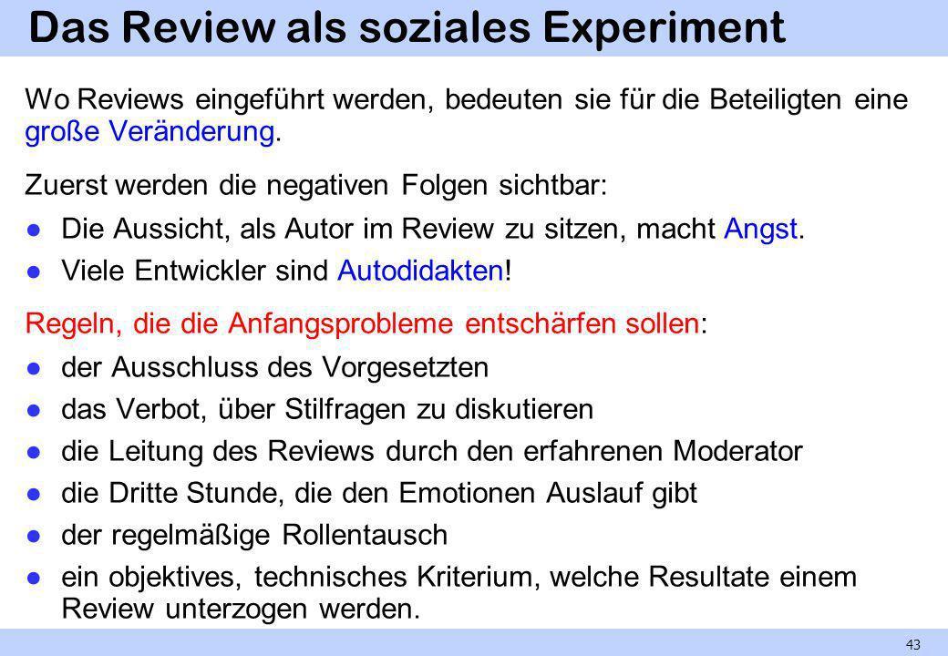 Das Review als soziales Experiment