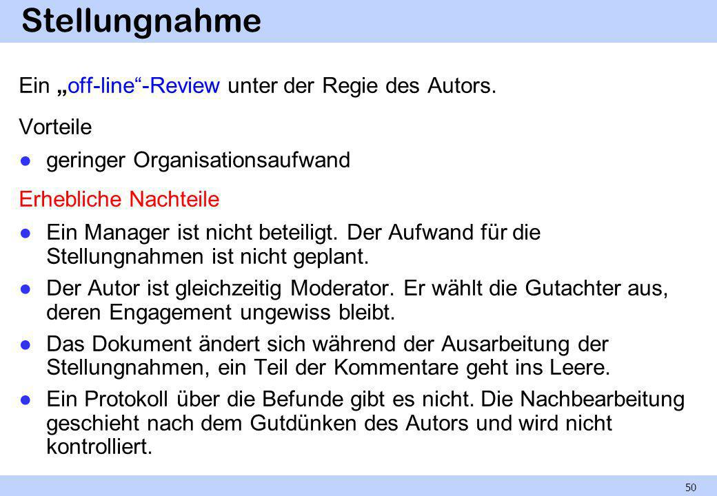"""Stellungnahme Ein """"off-line -Review unter der Regie des Autors."""
