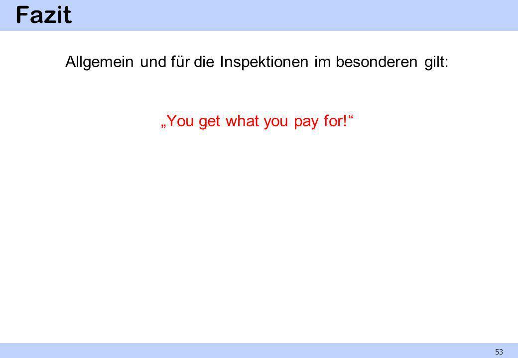 """Fazit Allgemein und für die Inspektionen im besonderen gilt: """"You get what you pay for!"""