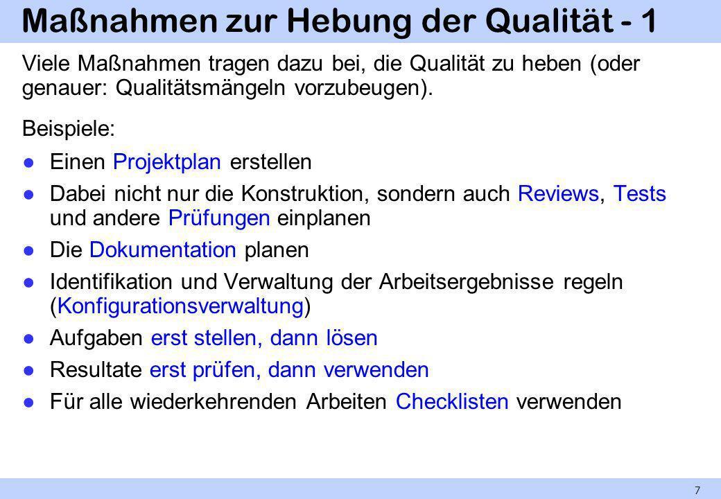Maßnahmen zur Hebung der Qualität - 1