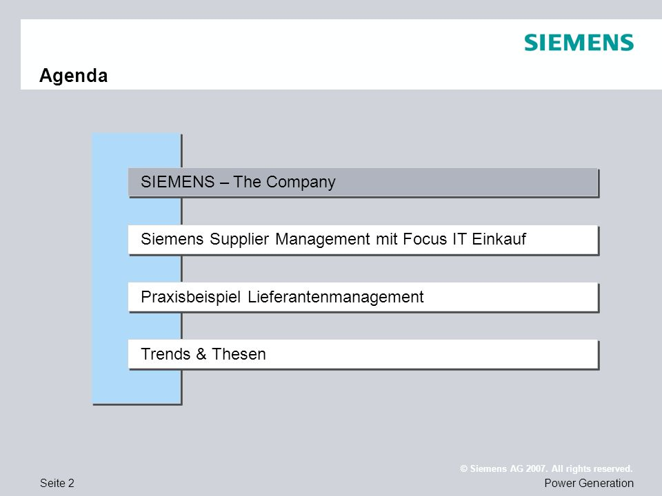 Agenda SIEMENS – The Company