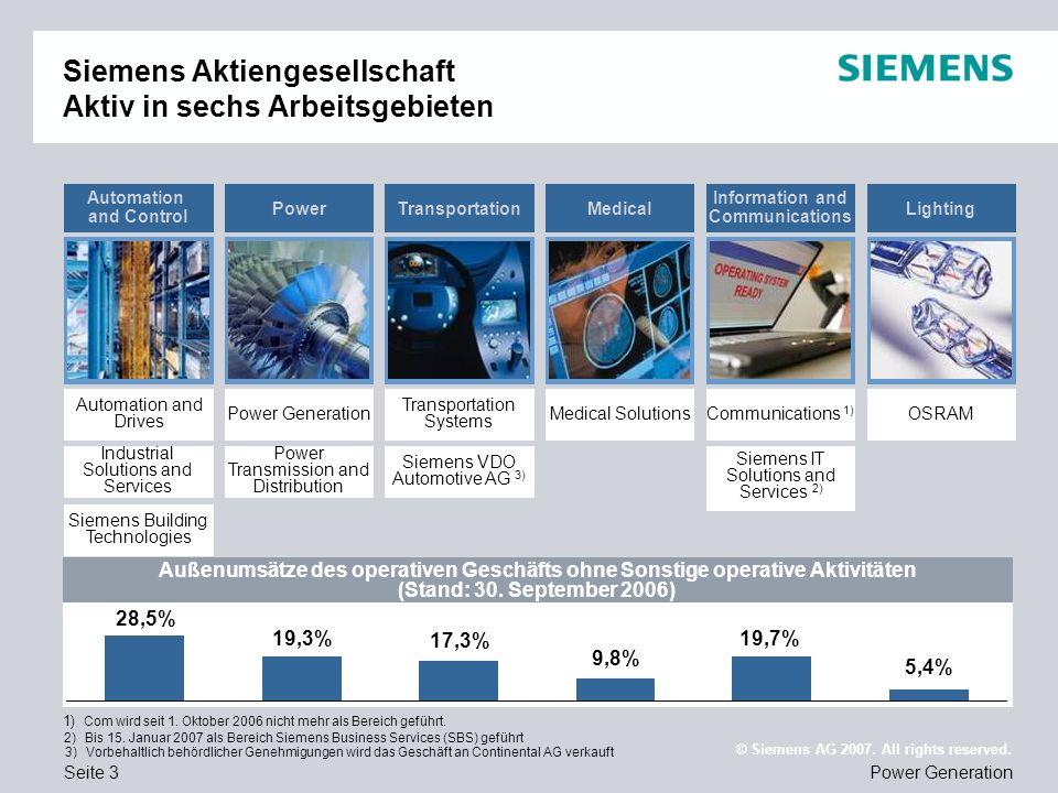 Siemens Aktiengesellschaft Aktiv in sechs Arbeitsgebieten