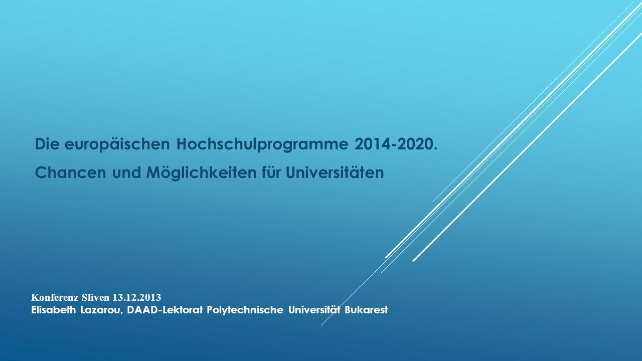 Die europäischen Hochschulprogramme 2014-2020.