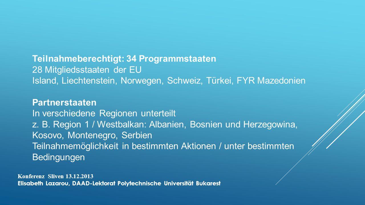 Teilnahmeberechtigt: 34 Programmstaaten 28 Mitgliedsstaaten der EU