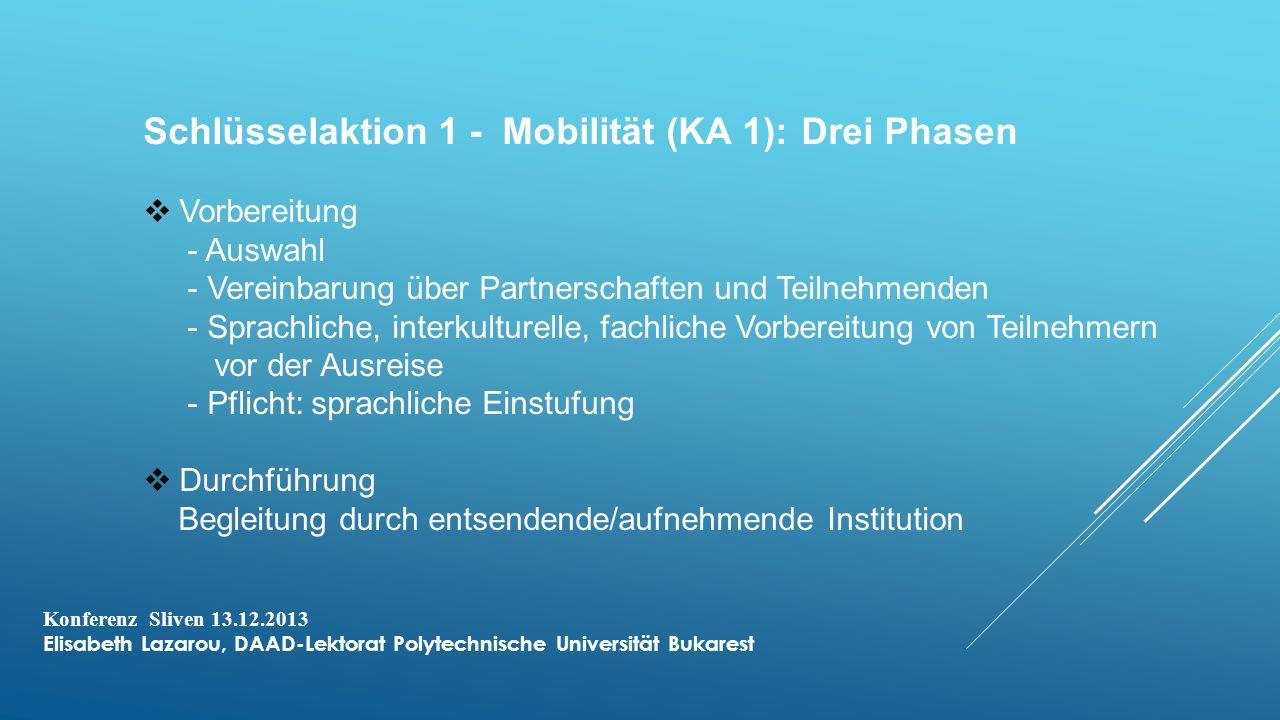 Schlüsselaktion 1 - Mobilität (KA 1): Drei Phasen