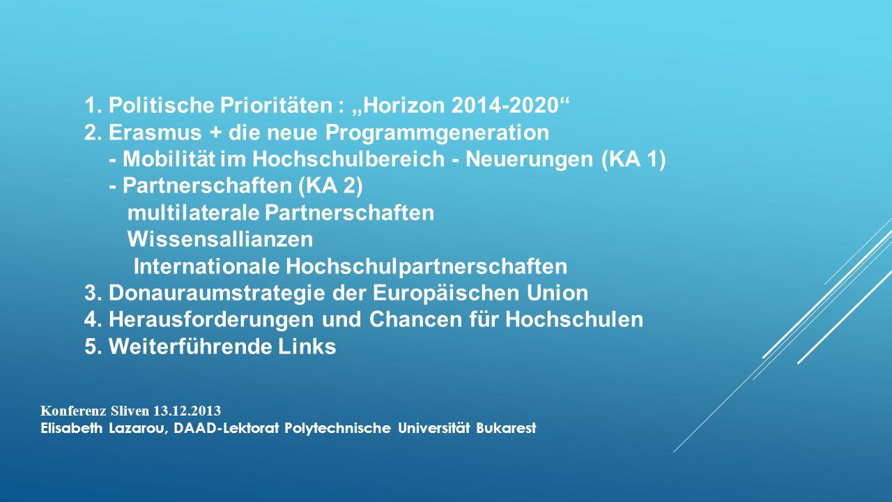 """1. Politische Prioritäten : """"Horizon 2014-2020"""