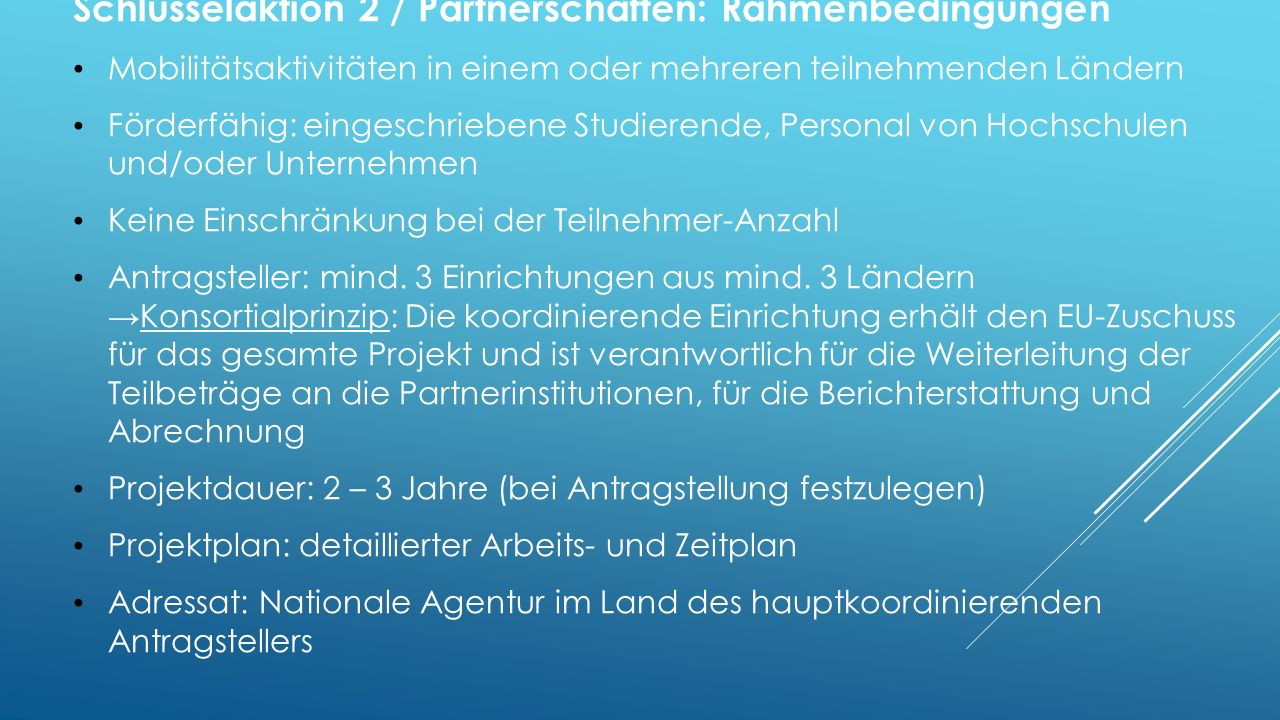 Schlüsselaktion 2 / Partnerschaften: Rahmenbedingungen