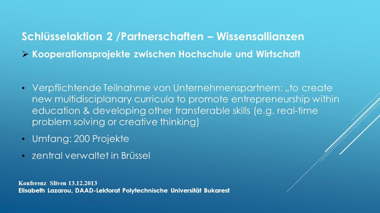 Schlüsselaktion 2 /Partnerschaften – Wissensallianzen