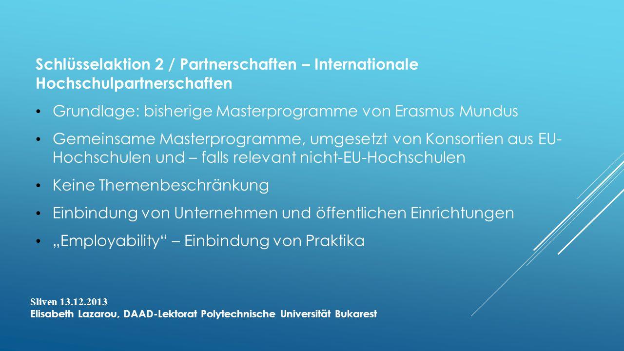 Grundlage: bisherige Masterprogramme von Erasmus Mundus