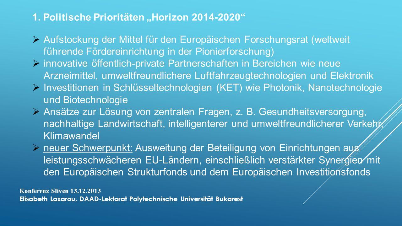 """1. Politische Prioritäten """"Horizon 2014-2020"""