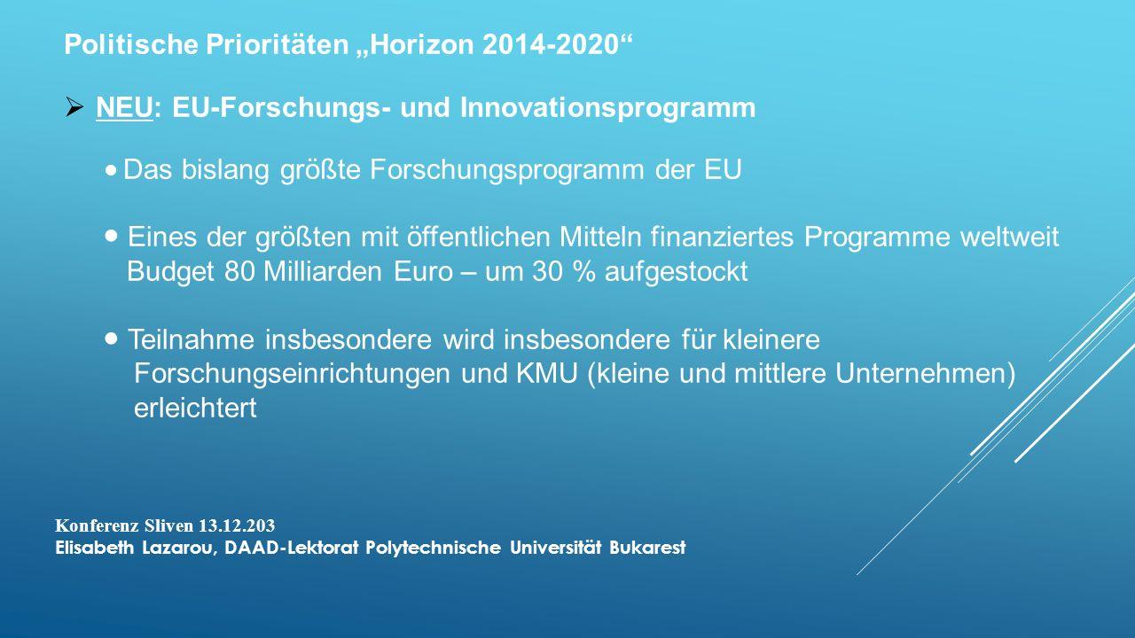 """Politische Prioritäten """"Horizon 2014-2020"""