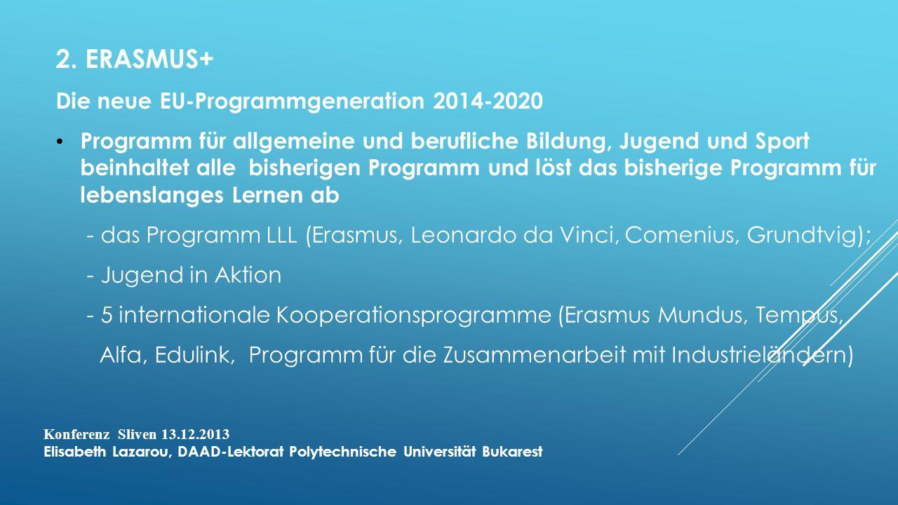 2. ERASMUS+ Die neue EU-Programmgeneration 2014-2020