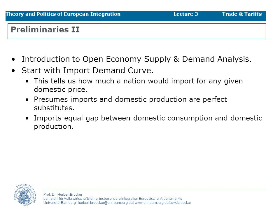 Introduction to Open Economy Supply & Demand Analysis.