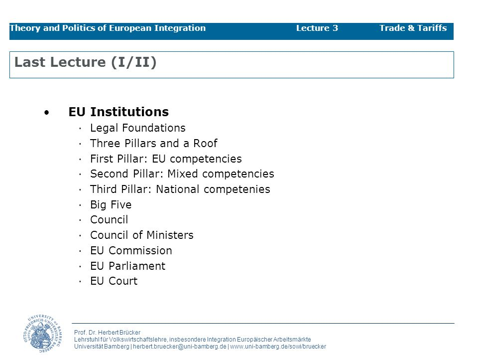 Last Lecture (I/II) EU Institutions Legal Foundations