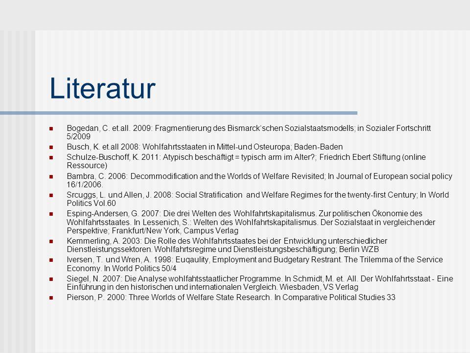 Literatur Bogedan, C. et.all. 2009: Fragmentierung des Bismarck'schen Sozialstaatsmodells; in Sozialer Fortschritt 5/2009.