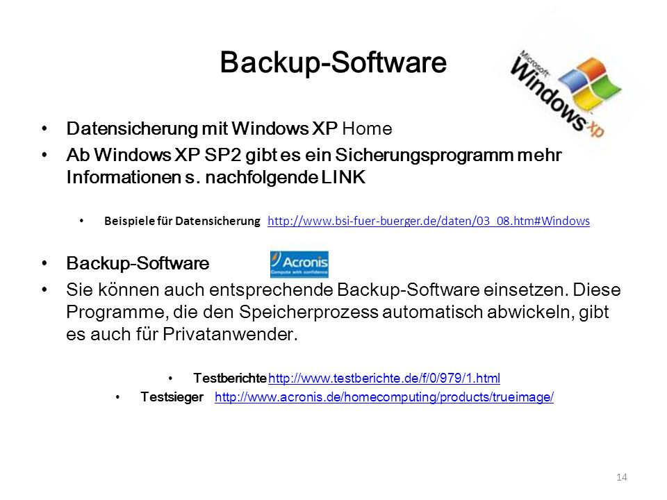 Backup-Software Datensicherung mit Windows XP Home