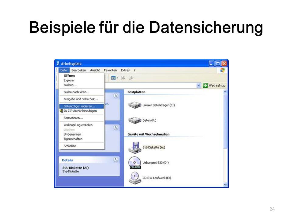 Beispiele für die Datensicherung