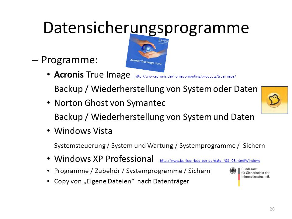 Datensicherungsprogramme