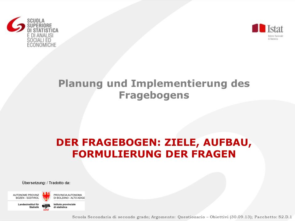 Planung und Implementierung des Fragebogens