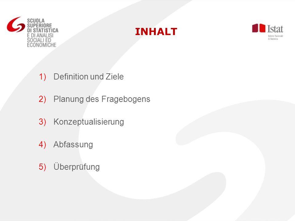 INHALT Definition und Ziele Planung des Fragebogens Konzeptualisierung