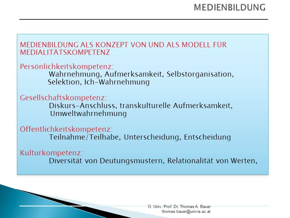 MEDIENBILDUNG MEDIENBILDUNG ALS KONZEPT VON UND ALS MODELL FÜR
