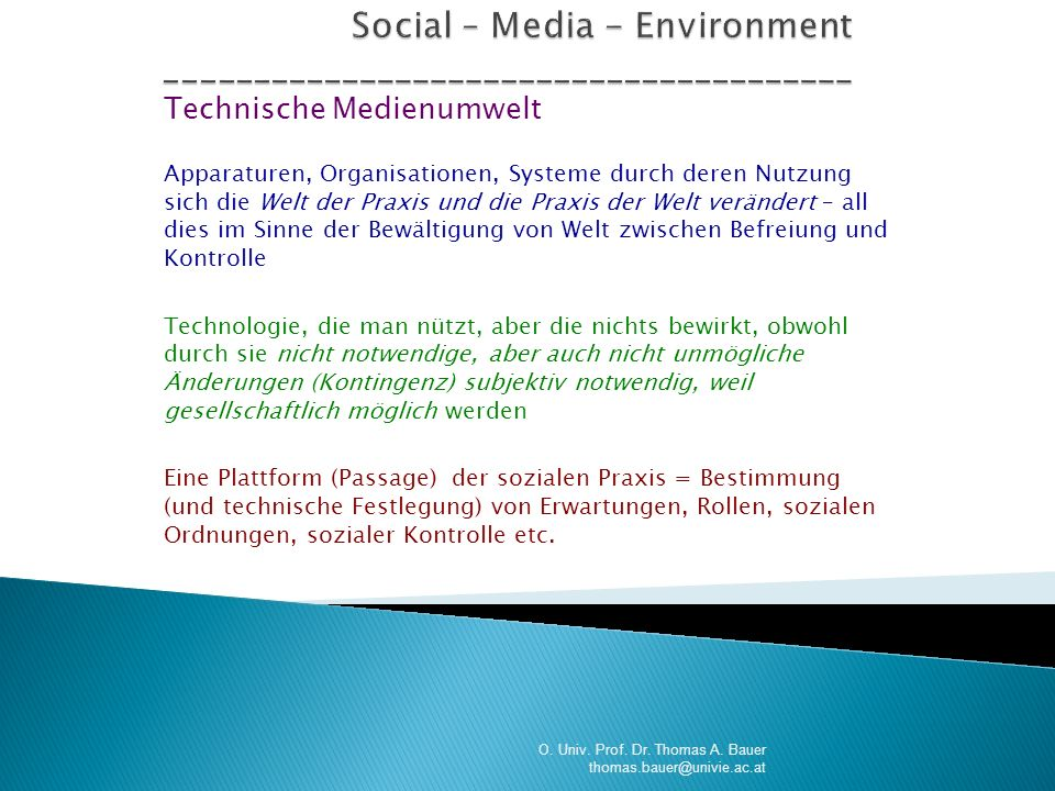 Social – Media - Environment _______________________________________