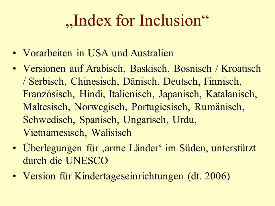 """""""Index for Inclusion Vorarbeiten in USA und Australien"""
