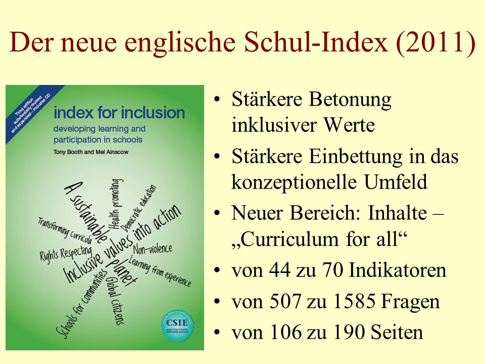Der neue englische Schul-Index (2011)