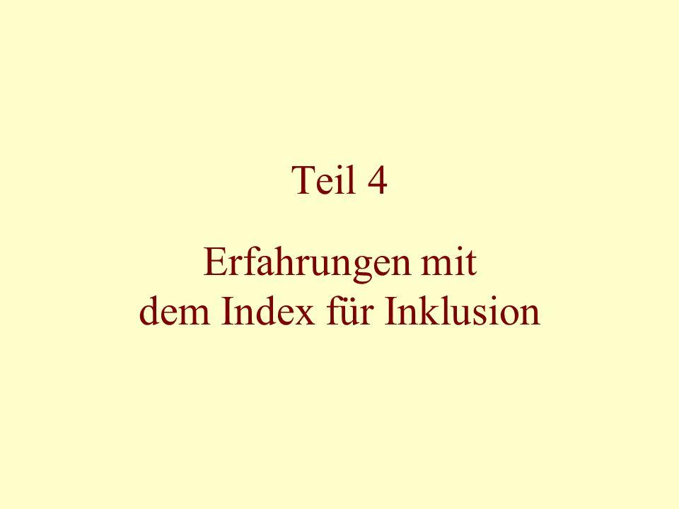 Teil 4 Erfahrungen mit dem Index für Inklusion