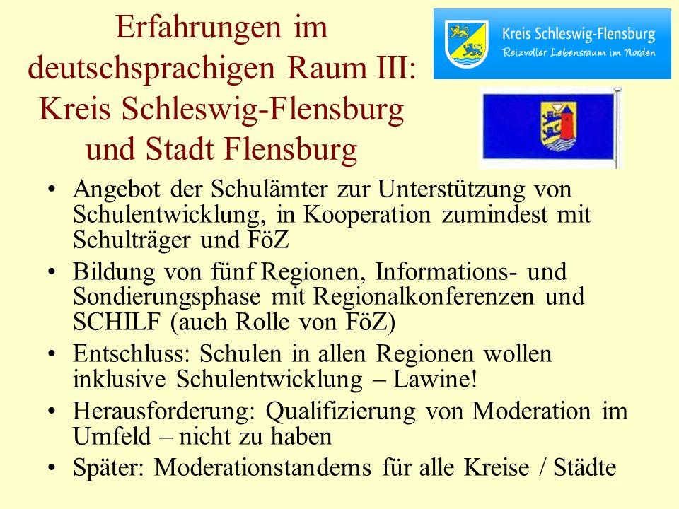 Erfahrungen im deutschsprachigen Raum III: Kreis Schleswig-Flensburg und Stadt Flensburg