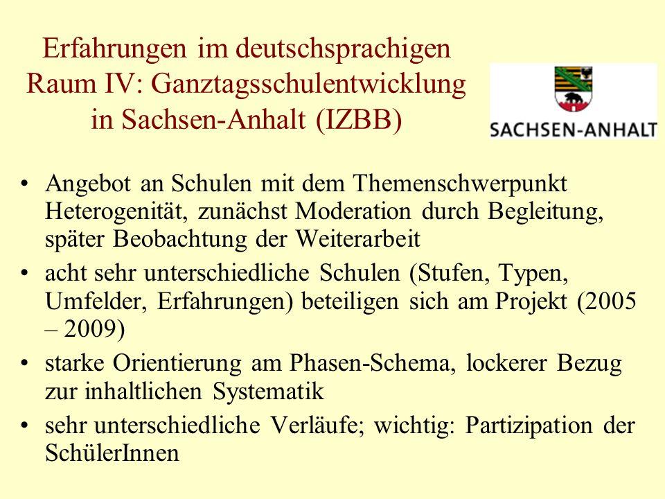 Erfahrungen im deutschsprachigen Raum IV: Ganztagsschulentwicklung in Sachsen-Anhalt (IZBB)