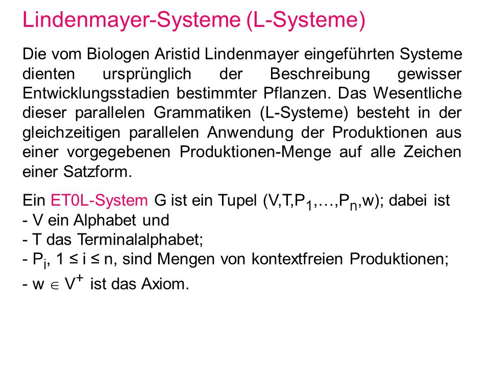 Lindenmayer-Systeme (L-Systeme)