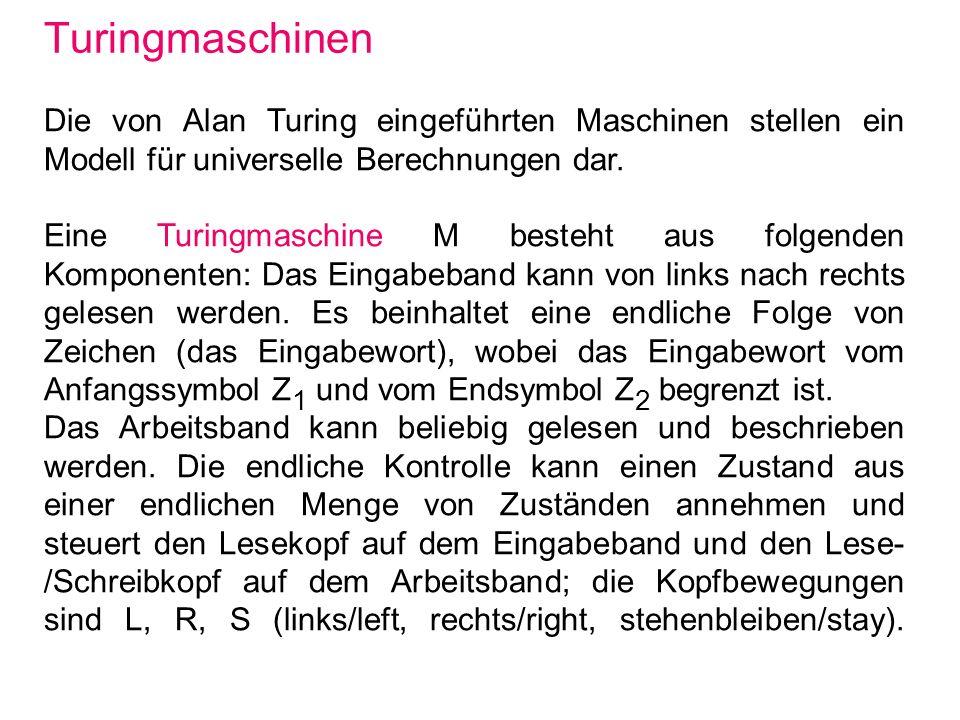 Turingmaschinen Die von Alan Turing eingeführten Maschinen stellen ein Modell für universelle Berechnungen dar.