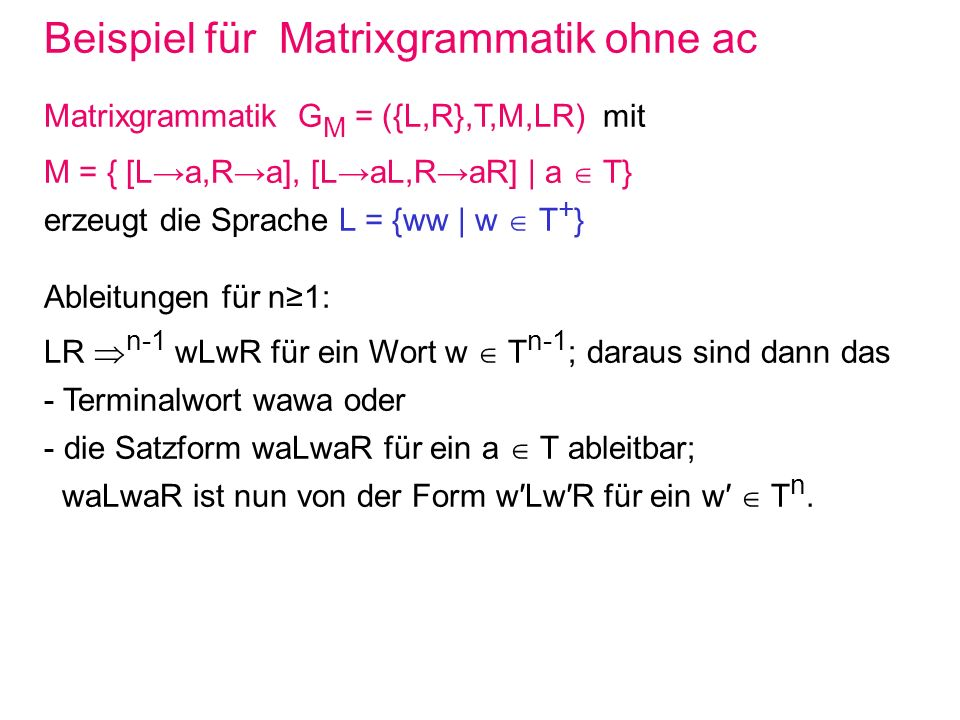 Beispiel für Matrixgrammatik ohne ac