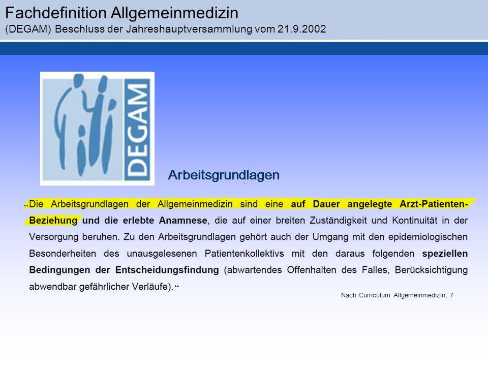 Nach Curriculum Allgemeinmedizin, 7