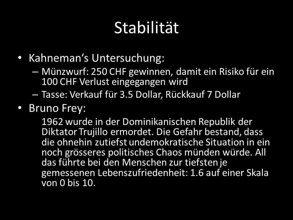 Stabilität Kahneman's Untersuchung: Bruno Frey: